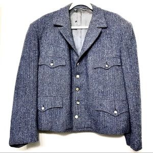 Harris Tweed Blue 60s Wool Tailored Custom Coat
